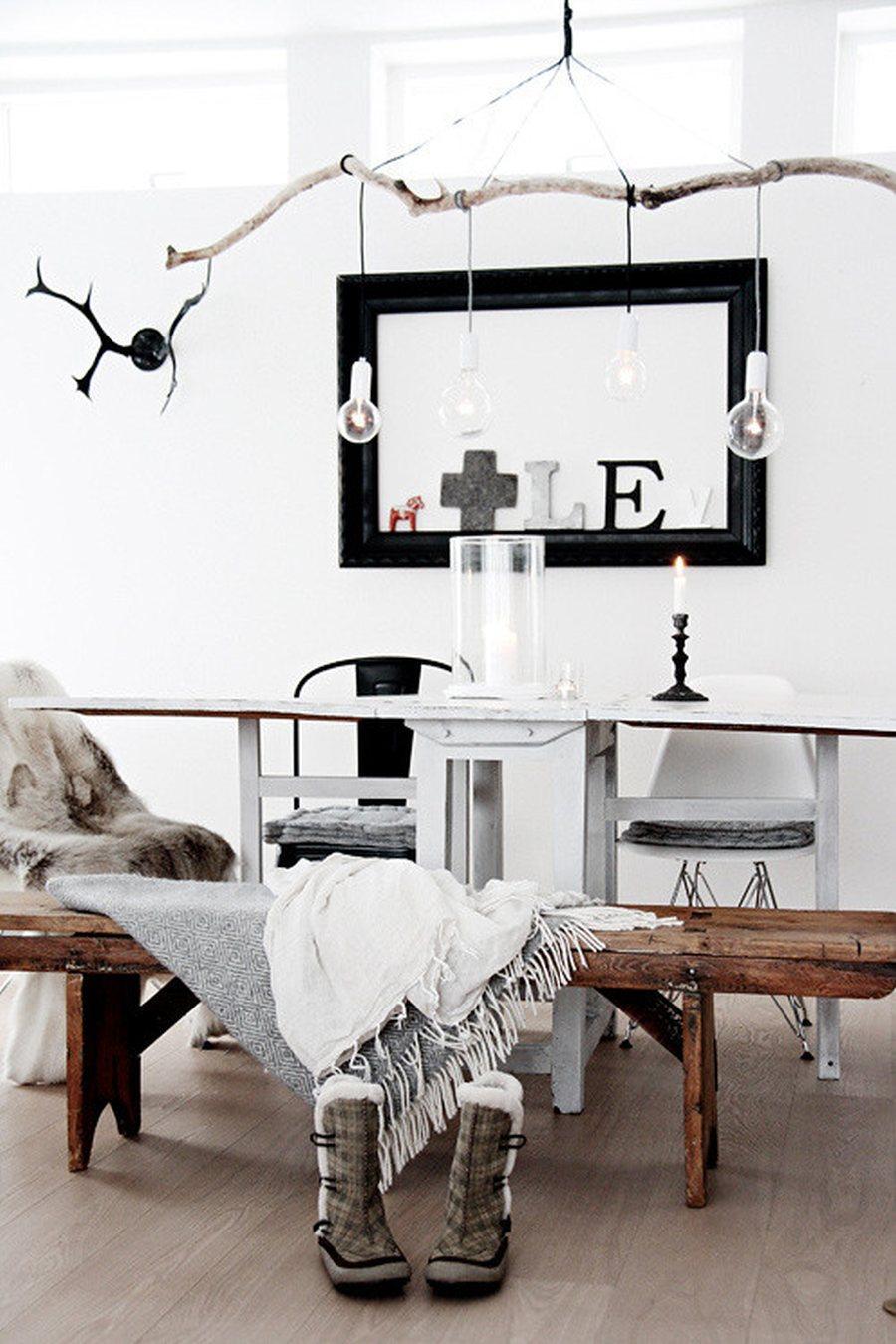 Lampadariodecorazioni per la casa con rami di albero fai-da-te