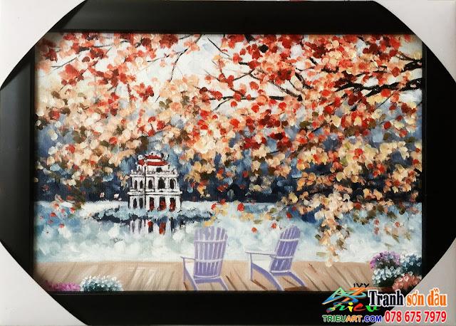 tranh sơn dầu, mùa thu hà nội
