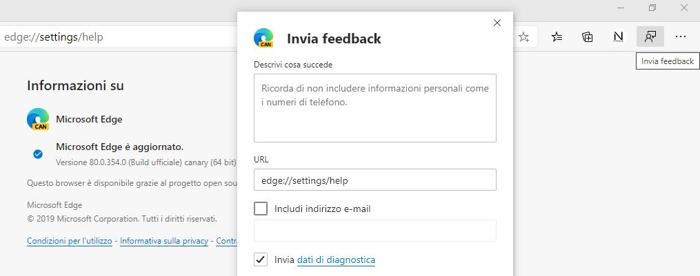 Nuova icona Invia feedback per Microsoft Edge Chromium