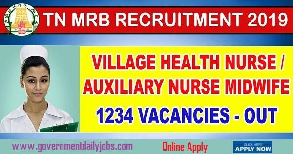 Tami Nadu Govt Job Vacancies-Tami Nadu Govt Job Vacancy for 1234 VHN/ANM 2019