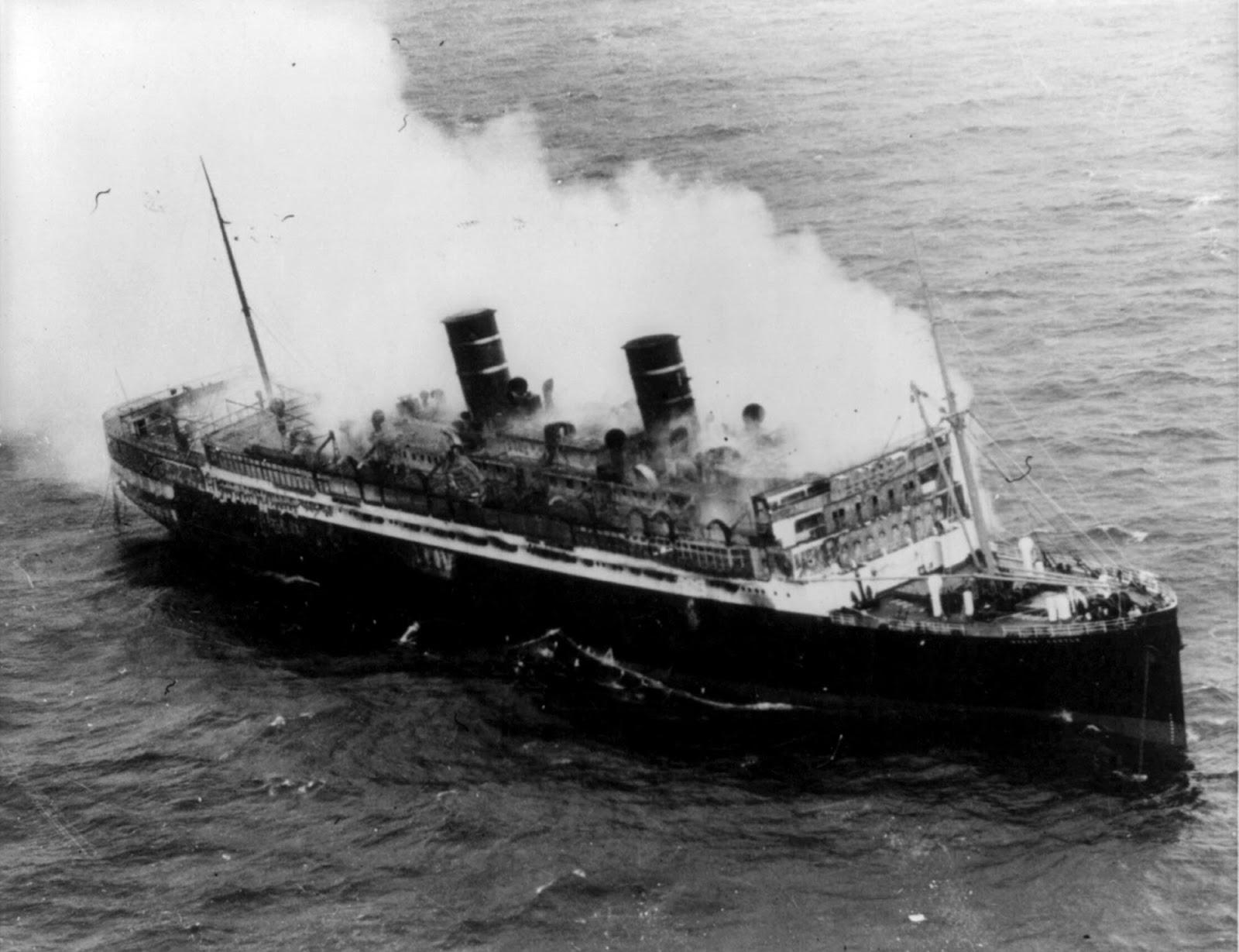 SS Morro Castle on fire, September 8, 1934.