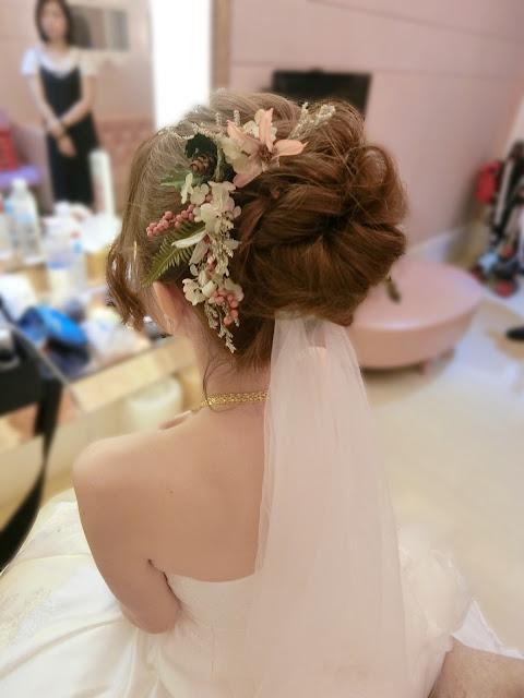 高盤髮造型 | 白紗高盤髮 | 白紗乾燥花造型 | 新娘造型2017 | 白紗造型
