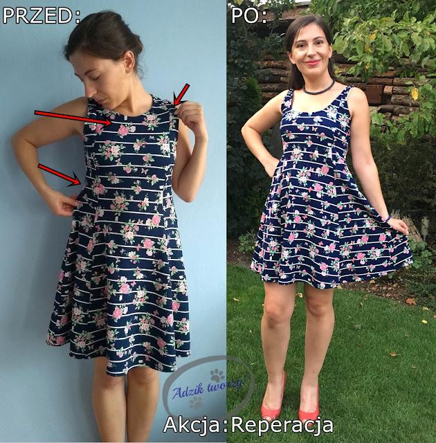 Akcja:Reperacja u Adzika - podsumowanie września 2019 - przerabianie sukienki