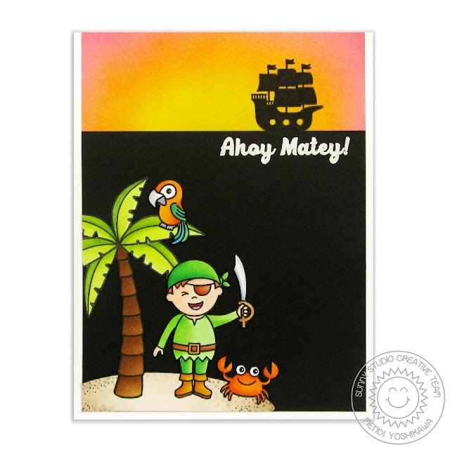 Sunny Studio Stamps Pirate Pals Pirate Ship Ahoy Matey Card by Mendi Yoshikawa