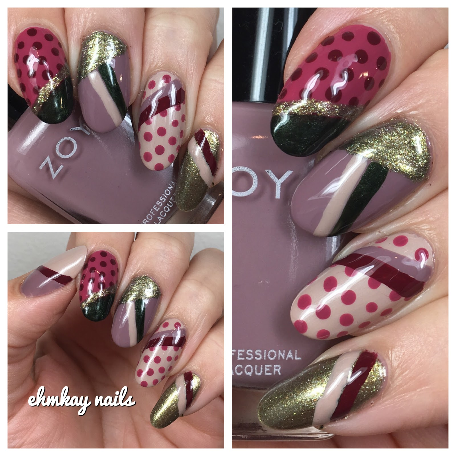 Ehmkay Nails Zoya Sophisticates Polka Dots And Stripes With Beauty