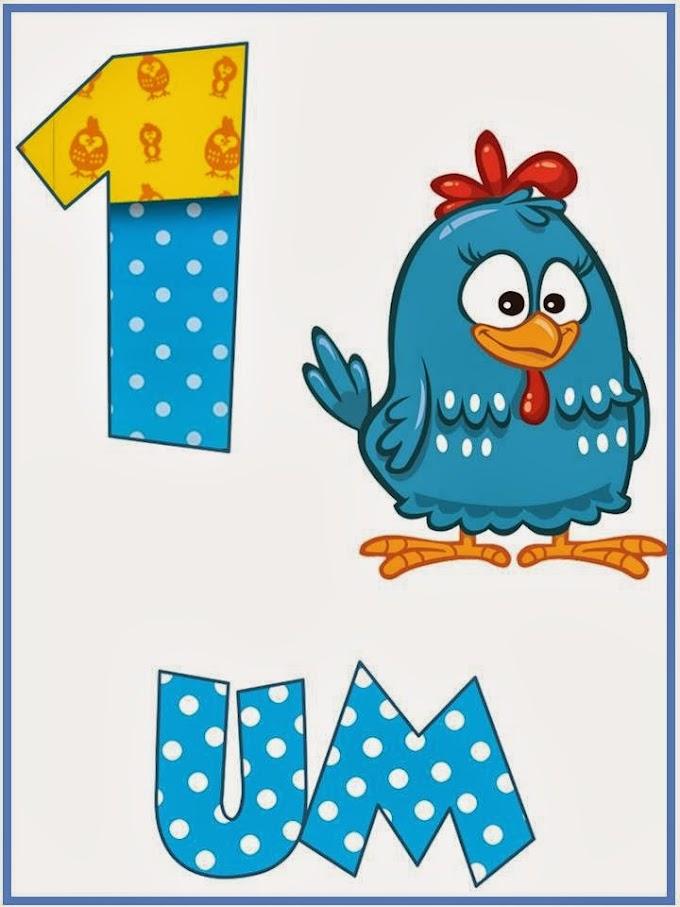 Cartaz de Números com a Galinha Pintadinha.