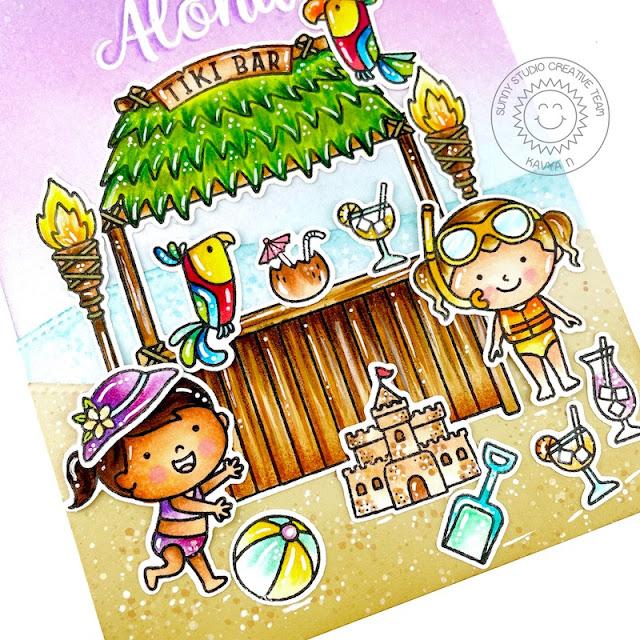 Sunny Studio Stamps: Tiki Time Beach Buddies Slimline Dies Beach Babies Beach Themed Card by Kavya