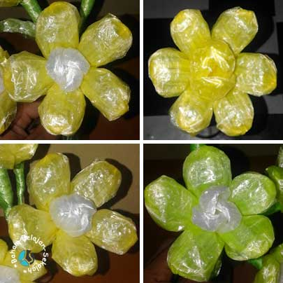 cara membuat bunga dengan tali plastik