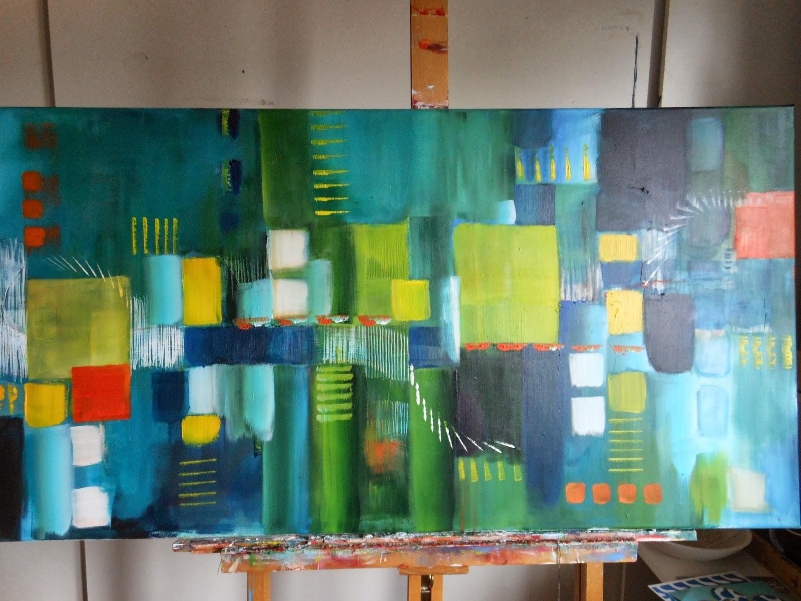 Bekend Dorien IJzerman: abstract en langwerpig acryl schilderij #UT26