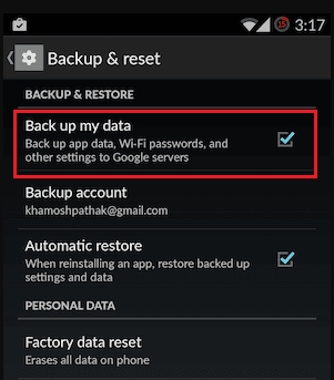 backup my data android