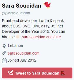 Twitter bio of Sara
