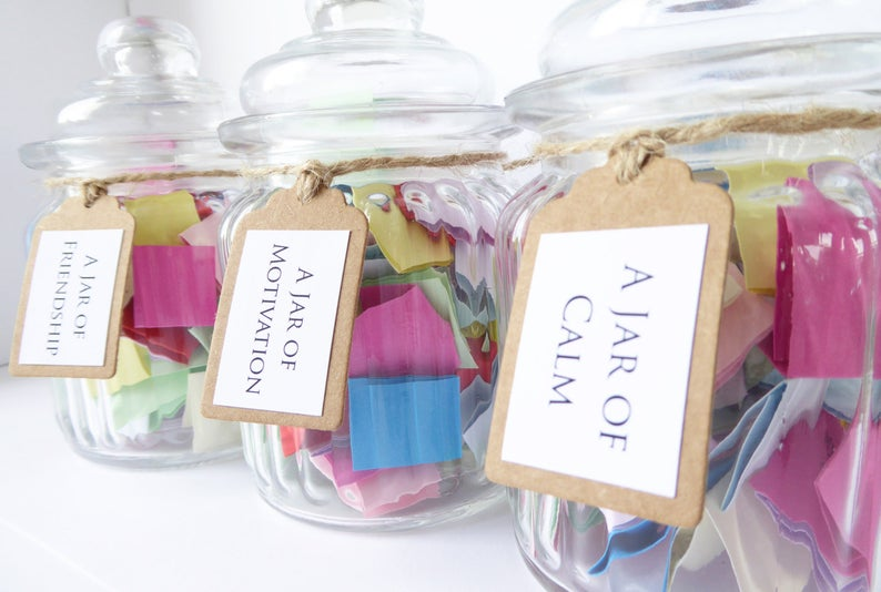 affirmations jar, jar of quotes, jar full of quotes, gift jar idea