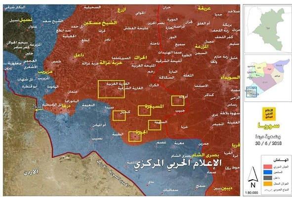 كيلومترات قليلة تفصل الجيش عن الحدود مع الأردن وأهالي درعا يهتفون بعودته.