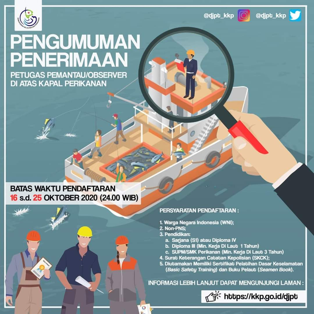 Lowongan Kerja Penerimaan Petugas Pemantau / Observer Di Atas Kapal Perikanan