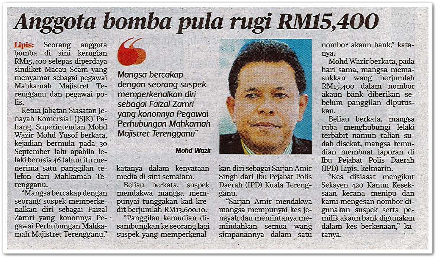 Anggota bomba pula rugi RM15,400 - Keratan akhbar Harian Metro 3 Oktober 2019