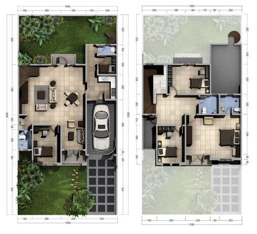Denah rumah minimalis ukuran 10x20 meter 5 kamar tidur 2 lantai