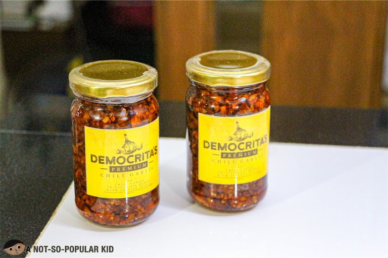 Bottled chili garlic oil of Democrita's