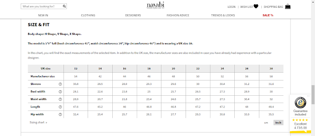 Sizing information on the Navabi website
