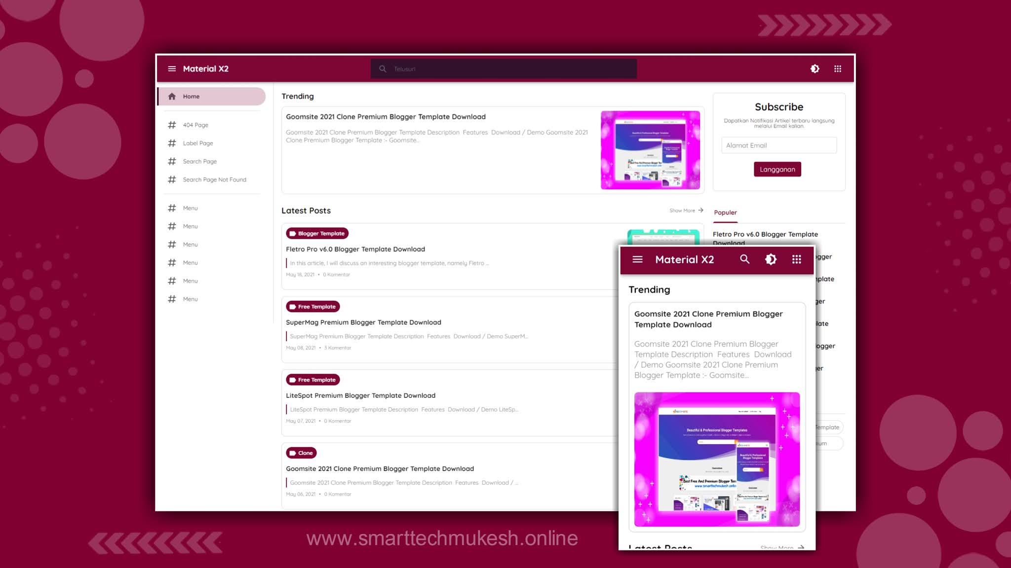 Material x2 Blogger Template Download