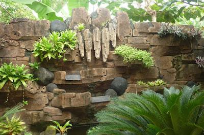 : Letak taman pada suatu rumah bisa menjadi pertimbangan untuk membuat desain taman yang indah. Untuk mendukung keindahan taman dapat ditambahkan batu alam yang dilengkapi pula dengan aneka tanaman dan rumput.