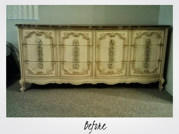 chalk paint dresser makeover, dresser makeover, painting a dresser, how to use chalk paint, mixing chalk paint colors, diy, how to refinish furniture, refinished dresser, french provincial dresser makeover,