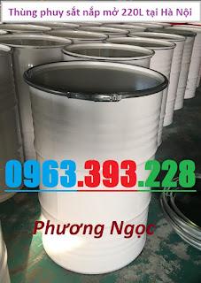 Thùng phuy sắt nắp mở 220L mới, phuy sắt có đai, thùng phuy sắt đựng hóa chất 6ef780055a95a2cbfb84