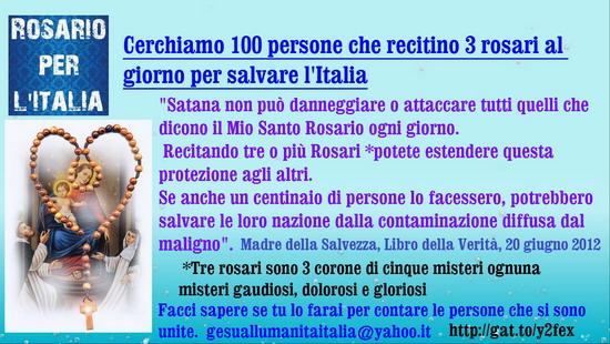 █ ♥*  Cerchiamo 100 persone che recitino 3 Rosari al giorno per salvare l'Italia