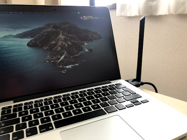 MacbookにT2U Plusを付けた状態