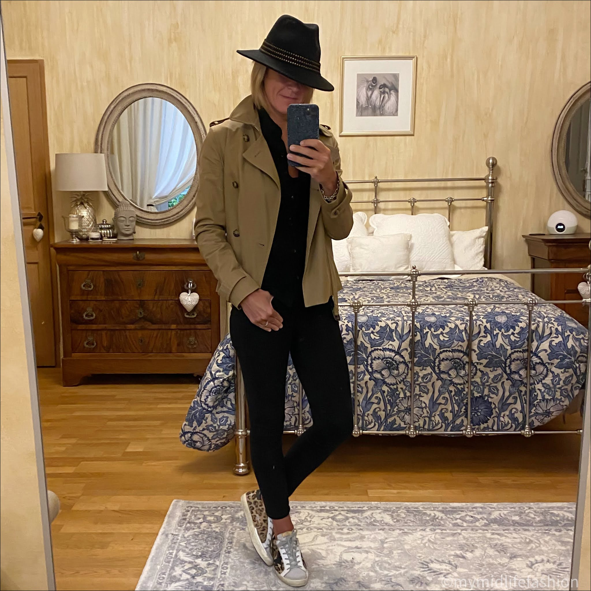 my midlife fashion, j crew 8 stretchy toothpick jean in true black, John Lewis and partners fedora felt hat, Isabel Marant Etoile wool shirt, golden goose superstar low top leopard print trainers, Joseph cropped trench coat