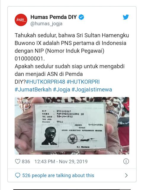 Keturunan Keraton Yogyakarta Ini Orang Indonesia Pertama Yang Jadi PNS Dengan NIP 01