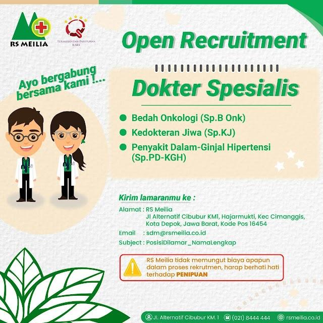 Loker Dokter Spesialis RS Meilia Depok, Jawa Barat
