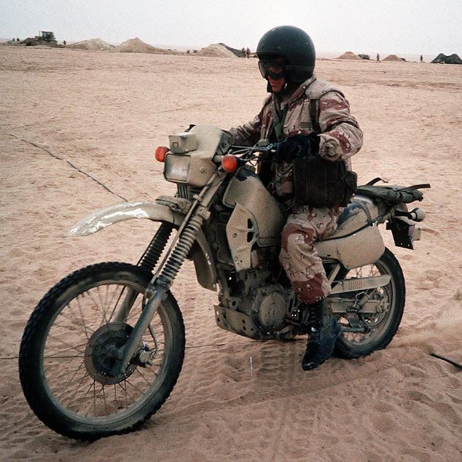 US Marine aboard a Kawasaki KLR250, Saudi Arabia, 1991 - Image CW02 Bailey