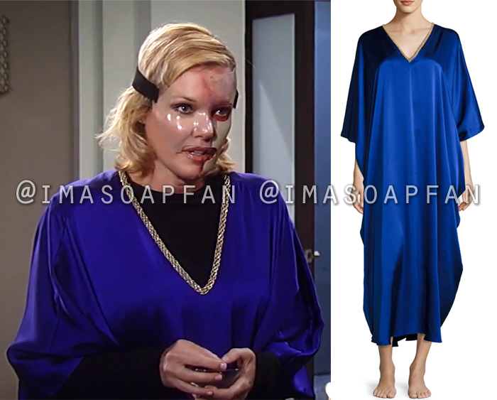 Ava Jerome, Maura West, Royal Blue Silk Caftan, Natori, General Hospital, GH