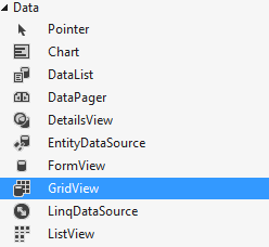 "Drag the GridView control under ""Data"" in the ""Toolbox"""