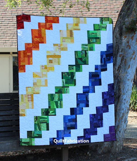 full view of the Rainbow Celilo quilt by QuiltFabrication