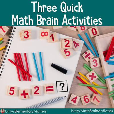 Three Quick Math Brain Activities: Here are three quick ideas for getting children to think about math, while keeping the brain engaged.