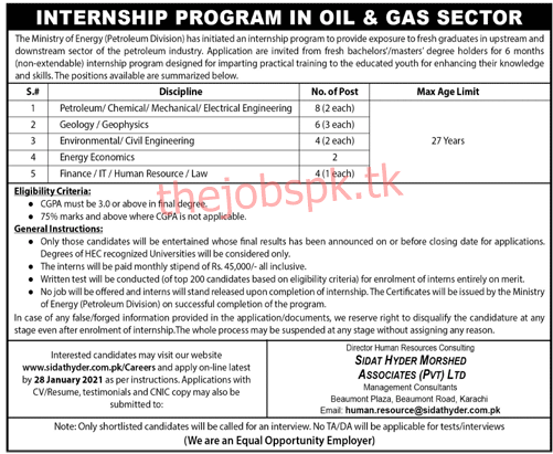 Latest Ministry of Energy Petroleum Division Management Posts 2021