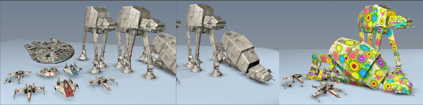 Star Wars Ultimate Vehicles - X-wing, Snowspeeder, A-wing, AT-AT, Millennium Falcon - 3D Models real-time view in Maya