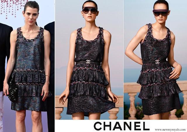 Carlotte Casiraghi in Chanel black mini dress.