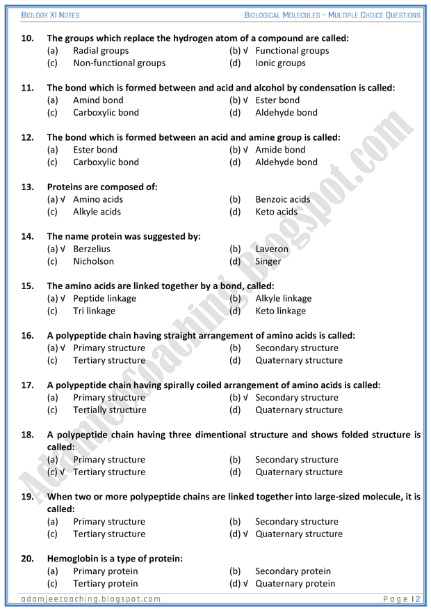 biological-molecules-mcqs-biology-11th