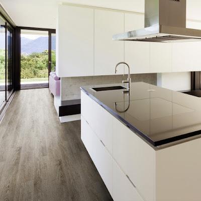 wood effect vinyl flooring in a modern kitchen