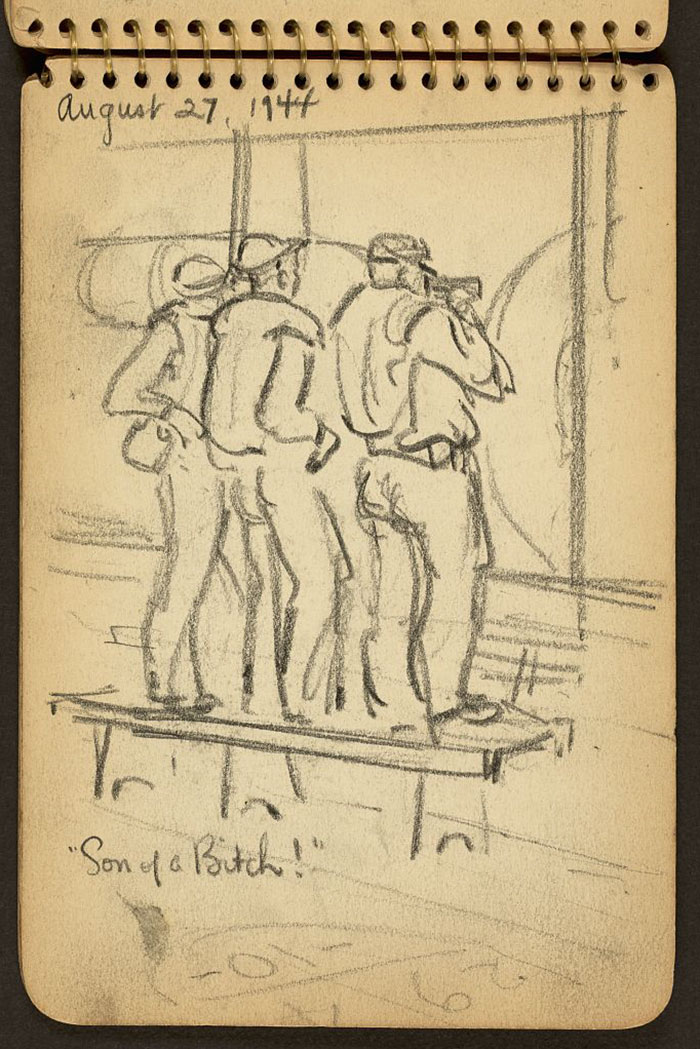 21-Year-Old WWII Soldier's Sketchbooks Show War Through The Eyes Of An Architect - 'Son Of A Bitch!' I Remember Getting On The Deck And Here Were These Guys, And That's Just What They Were Saying, Son Of A Bitch!