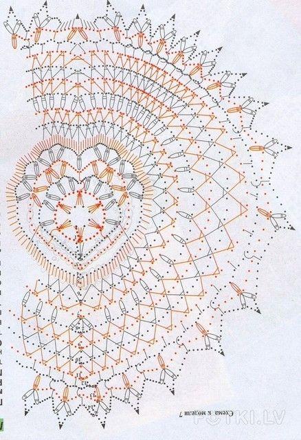 Enfeite de Crochê em forma de coração com gráfico