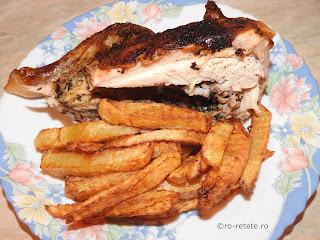 Friptura de pui reteta carne de pasare cu sos de bere la cuptor si cartofi prajiti retete culinare fripturi mancaruri preparate,