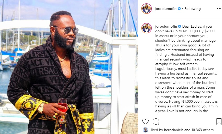 Stop Thinking About Marriage If You Do Not Have Up to 1m Assest Or In Your Account - Relationship Expert, Joro Olumofin Advise Ladies