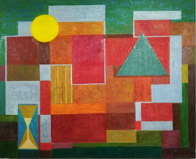 Oil composition on canvas, geometric art, abstract paint.