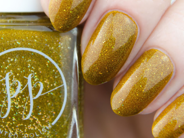 "Painted Polish ""Mellow Mustard"" holo swatch"