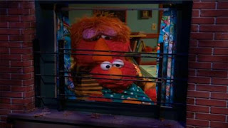 Louie calls Elmo in front of the window to show everybody is sleeping. Sesame Street Bedtime with Elmo