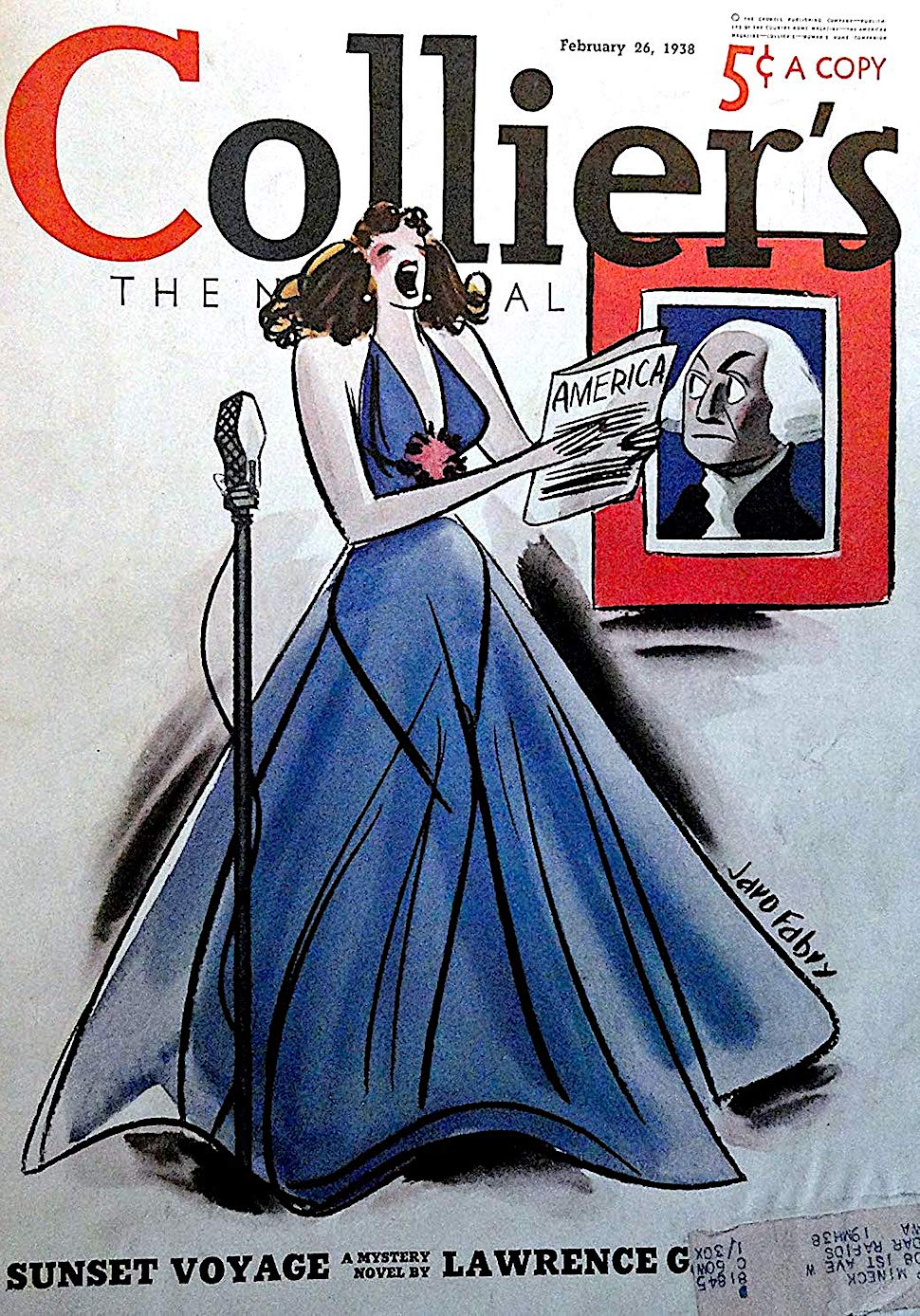 a 1938 Jaro Fabry illustration of historic USA General George Washington disapproving of a woman's singing of the national anthem, for Collier's magazine
