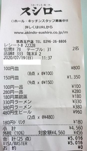 スシロー 筑西玉戸店 2020/7/19 飲食のレシート